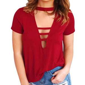 V Neck Criss Cross Shirt - Enkeechi, online shopping USA,  online womens clothes shopping