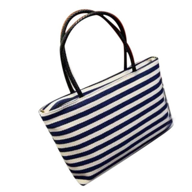 Striped Canvas Shoulder Bag - Enkeechi, online shopping USA,  online womens clothes shopping