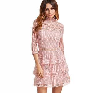 Pink Lace Dress Vintage Crochet Layered - Enkeechi, online shopping USA,  online womens clothes shopping