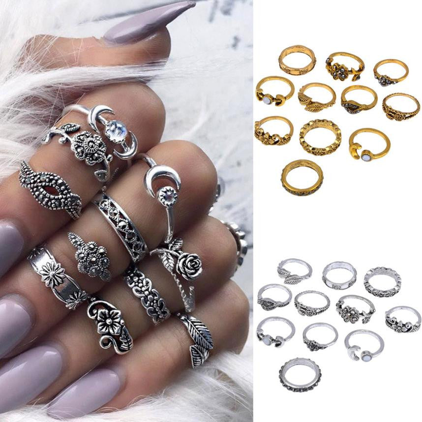 11pcs/Set Ladies Bohemian Vintage Silver Stack Rings - Enkeechi, online shopping USA,  online womens clothes shopping