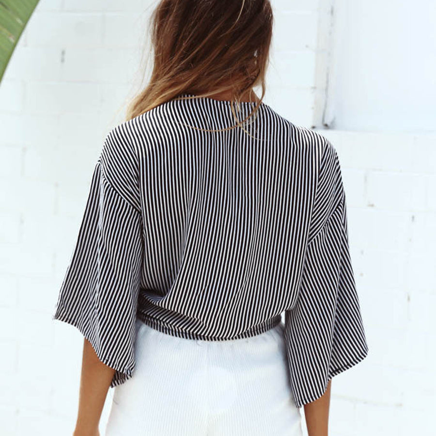 Ladies Striped Deep V neck Crop Top Shirt - Enkeechi, online shopping USA,  online womens clothes shopping