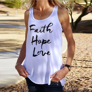 Faith Hope Love Round Neck Tank Top - Enkeechi, online shopping USA,  online womens clothes shopping