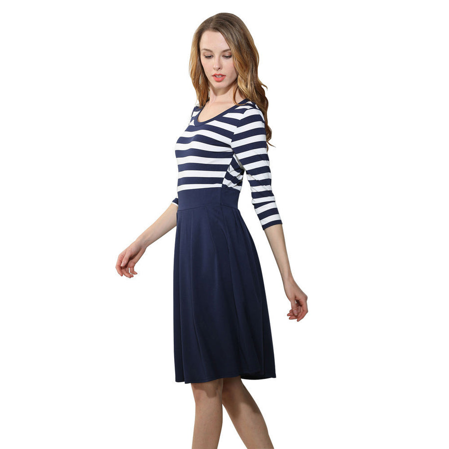 Navy Style Stripe Scoop Neck Swing Dress - Enkeechi, online shopping USA,  online womens clothes shopping