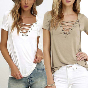 Lace Up Short Sleeve Fashion Blouse - Enkeechi, online shopping USA,  online womens clothes shopping