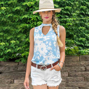 Floral Ladies Sleeveless V Neck Print Shirt - Enkeechi, online shopping USA,  online womens clothes shopping