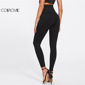 High Waist Skinny Leggings Black Empire Eyelet Lace Up - Enkeechi, online shopping USA,  online womens clothes shopping