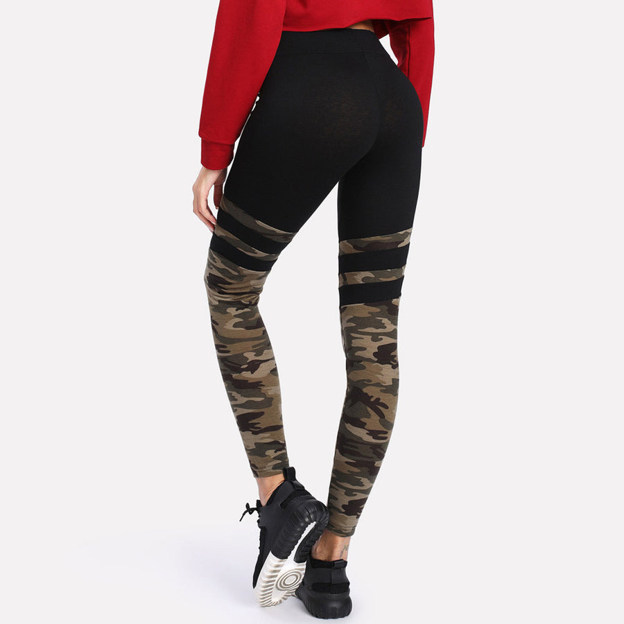 Camo Stitching Sports Pants Yoga Fitness Leggings - Enkeechi, online shopping USA,  online womens clothes shopping