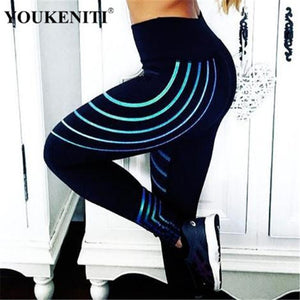 YOUKENITI Polyester reflective stripe women leggings elastic high waist full length yoga pants - Enkeechi, online shopping USA,  online womens clothes shopping