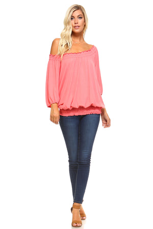 Three Quarter Sleeve Peasant Top with Elastic Neckline