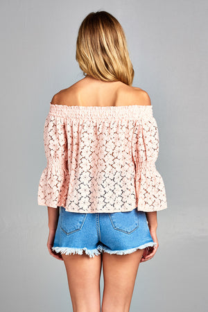 Long Sleeve Off Shoulder Floral Lace Top - Enkeechi, online shopping USA,  online womens clothes shopping