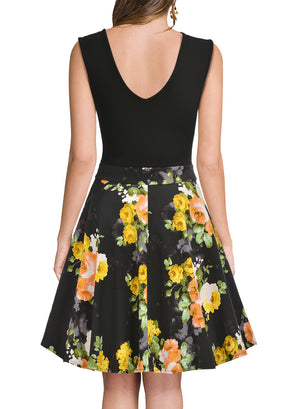 Casual Flare Floral Summer Party Mini Dress - Enkeechi, online shopping USA,  online womens clothes shopping