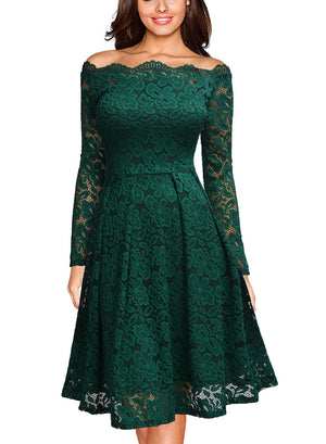 Vintage Floral Lace Cocktail Formal Party Dress - Enkeechi, online shopping USA,  online womens clothes shopping