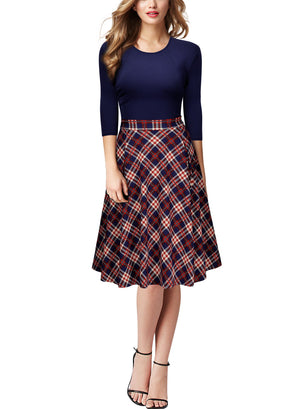 Retro Plaid A-line Business Big Swing Dress - Enkeechi, online shopping USA,  online womens clothes shopping