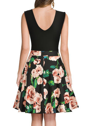 Chic Fashion Flare Floral  Dress - Enkeechi, online shopping USA,  online womens clothes shopping