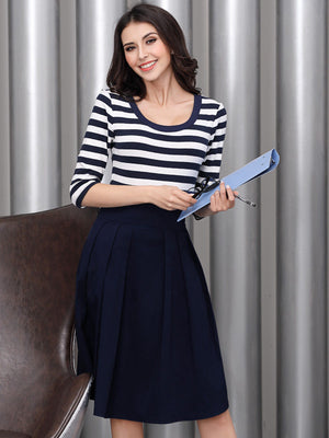 Navy Style Stripe Scoop Neck Outdoor Mini Dress - Enkeechi, online shopping USA,  online womens clothes shopping