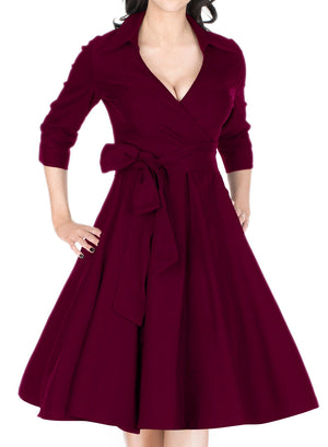Classical Deep-V Neck Half Sleeve Vintage Party Dress - Enkeechi, online shopping USA,  online womens clothes shopping