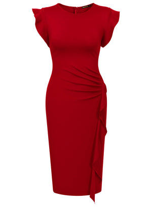 Office Pencil Dress with Side Sash - Enkeechi, online shopping USA,  online womens clothes shopping