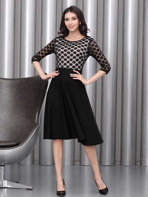 Polka Dot Optical Illusion Casual Swing Dress - Enkeechi, online shopping USA,  online womens clothes shopping