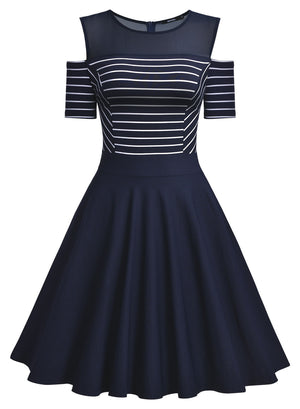 Navy Colored Dress with Open Short Sleeves - Enkeechi, online shopping USA,  online womens clothes shopping