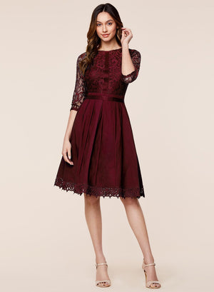 Vintage Cocktail Party Lace Pleated Swing Dress - Enkeechi, online shopping USA,  online womens clothes shopping