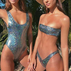 Sequined Pleather Bikini Set - Enkeechi, online shopping USA,  online womens clothes shopping