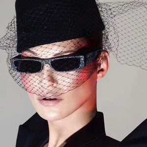 Retro Oversized Crystal Diamond Sunglasses