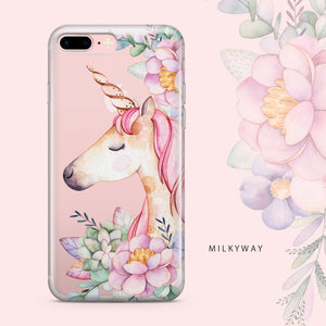 Floral Unicorn iPhone & Samsung Clear Phone Case Cover