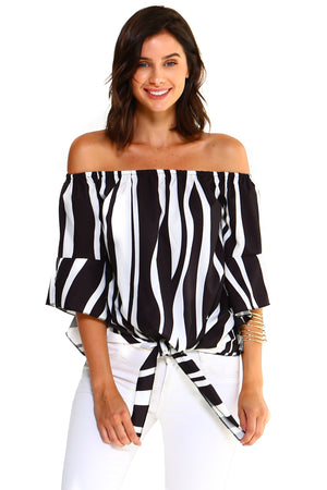 Strapless Striped Bandage Blouse