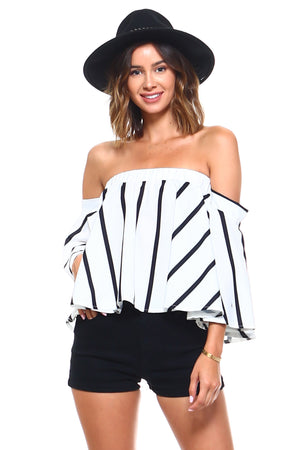 Chic Vertical Striped Off Shoulder Blouse