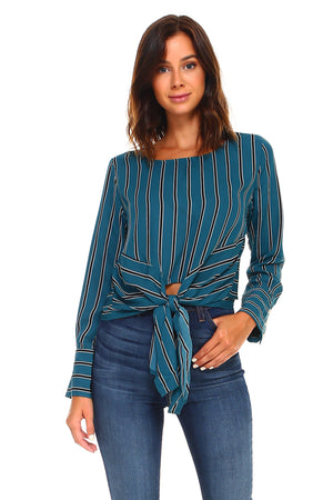 Stripe Long Sleeve Tie Blouse