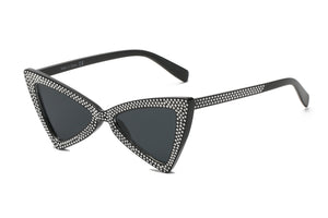 Retro Extreme High Pointed Rhinestone Fashion Cat Eye Sunglasses