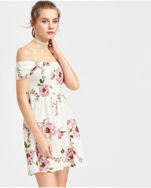 White Floral Dress Women's Smock A Line - Enkeechi, online shopping USA,  online womens clothes shopping