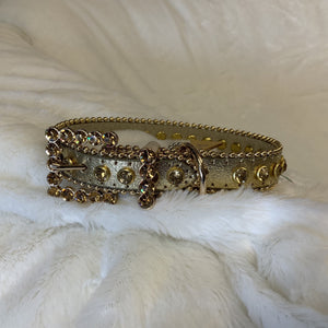 BLING LEATHER COLLAR GOLD W/GOLD CRYSTALS