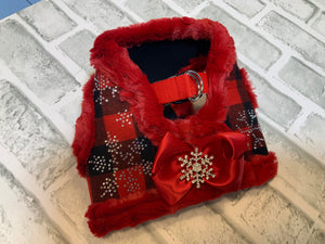 HOLIDAY  RED PLAID HARNESS WITH SNOWFLAKE & RED RUFFLE