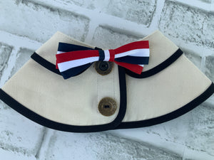 CAPE COLLAR OFF-WHITE WITH  RED/WHITE/BLUE BOW