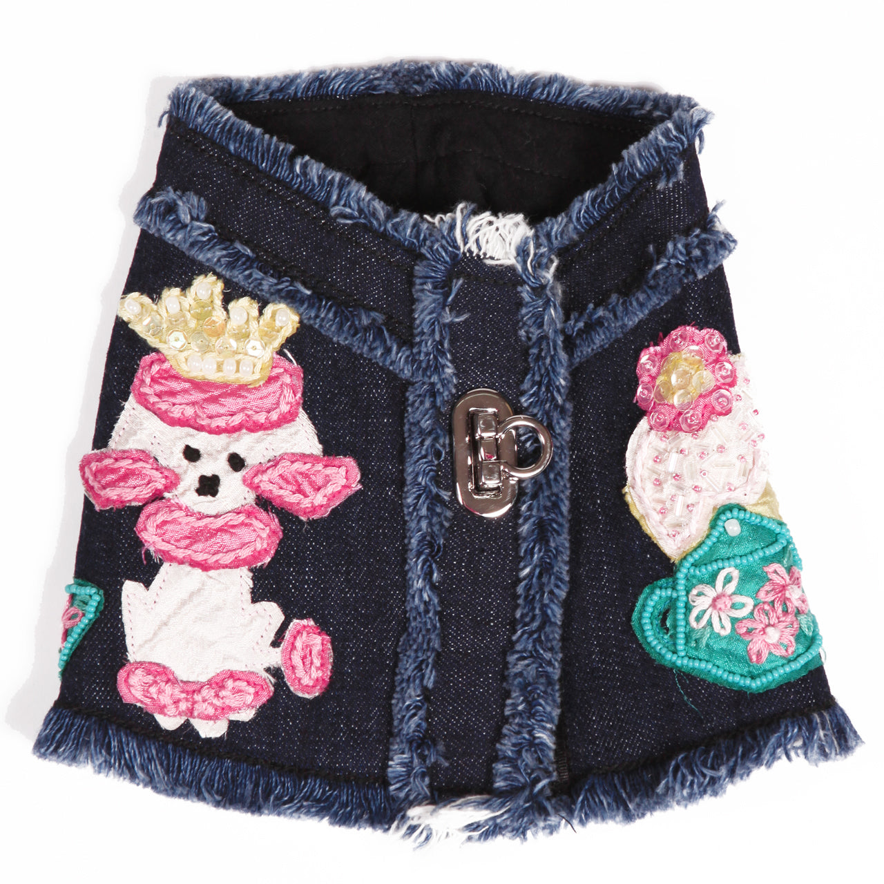 DOG IN THE CLOSET LONDON TEA PARTY DENIM HARNESS