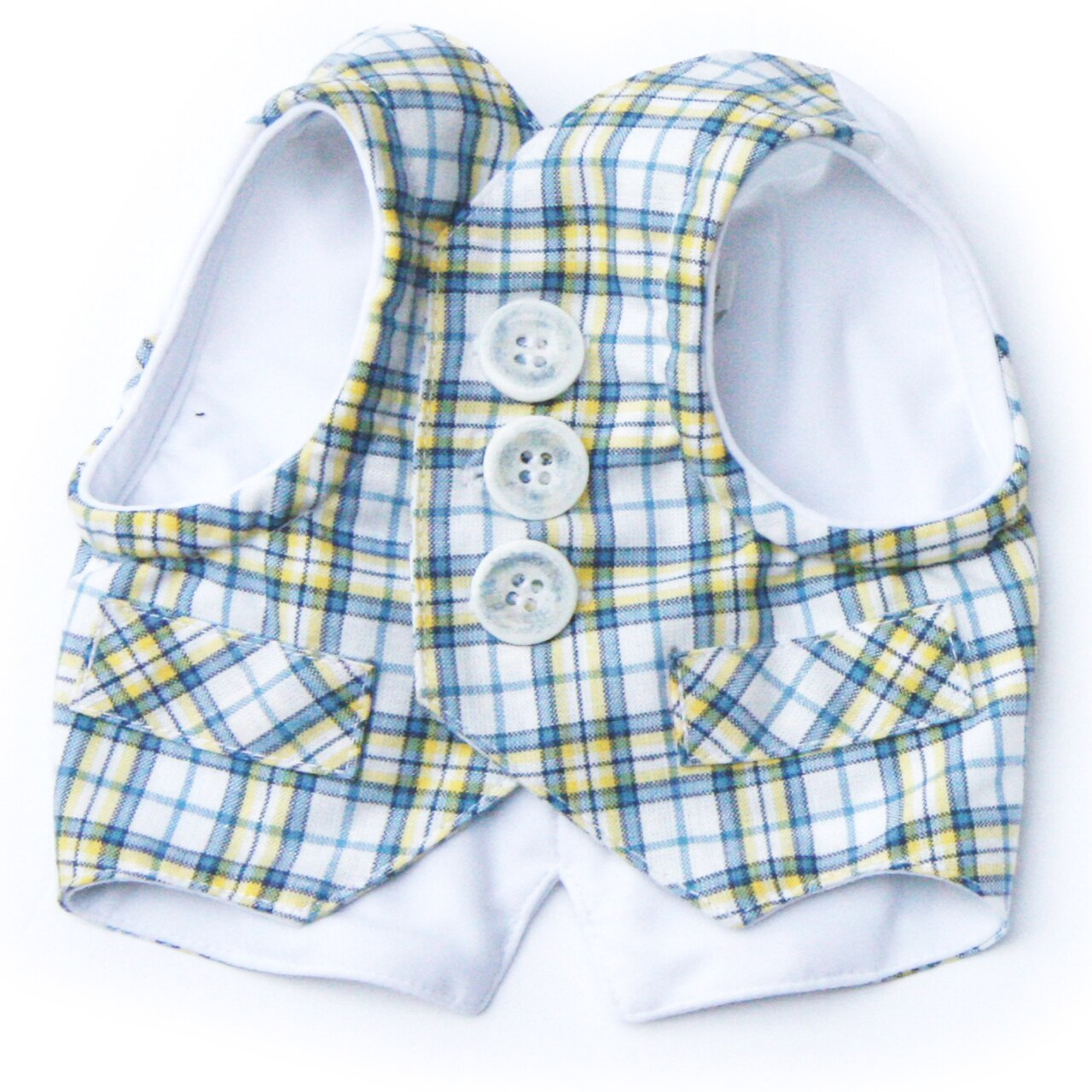 DOG ON THE CLOSET THE LAWRENCE BLUE PLAID VEST/HARNESS