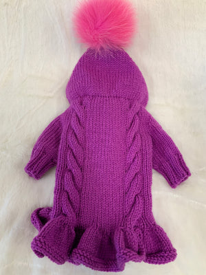 RUSSIAN DRESS SWEATER W/HOOD SWEET PLUM/PINK