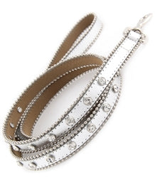 Bling Leather Leash-White