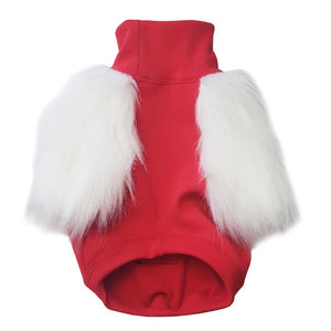 EYE OF DOG SANTA FAUX FUR DOG TOP