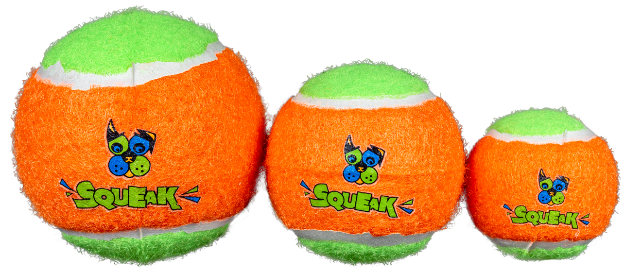 Spunky Pup Squeak Bounce Float Tennis Ball Madium pack of 3