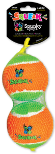 Spunky Pup Squeak Bounce Float Tennis Ball Large pack of 2