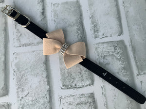 SUSAN LANCI BLACK COLLAR W/ TAN NOUVEAU BOW