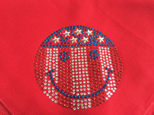 DOG IN THE CLOSET PATRIOTIC BANDANA SMILEY FACE RED