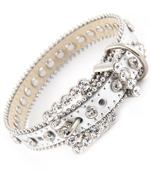 Bling Leather Collar-White