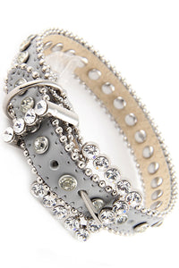 BLING LEATHER COLLAR PLATINUM W/CLEAR CRYSTALS