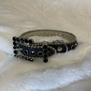 BLING LEATHER COLLAR BLACK  W/BLACK CRYSTALS