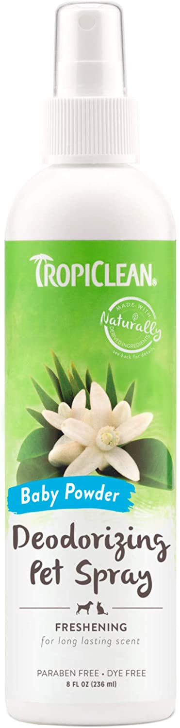 TROPICLEAN DEODORIZING PET SPRAY BABY POWDER