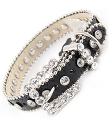 Bling Leather Collar-Black