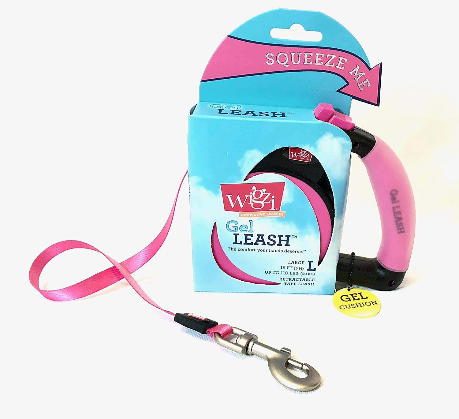 WIGZI RETRACTABLE LEASH WITH GEL HANGLE PINK